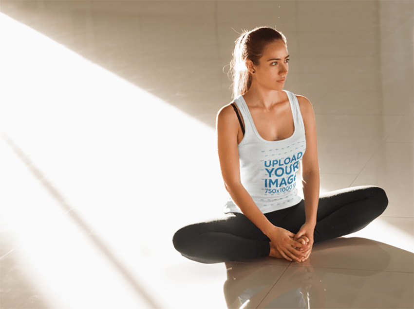 Young Woman Practicing Yoga Tank Top Mockup