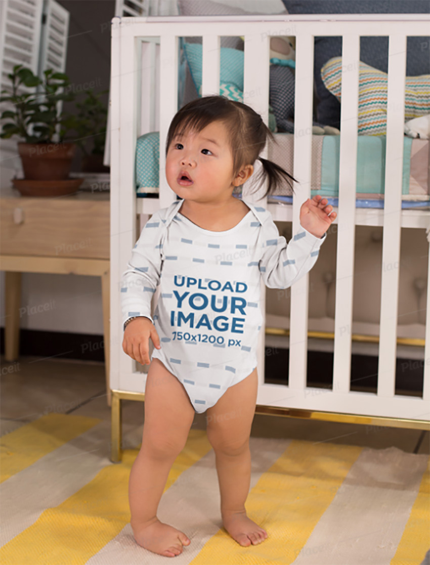 Onesie Mockup of a Sweet Baby Girl in Her Bedroom