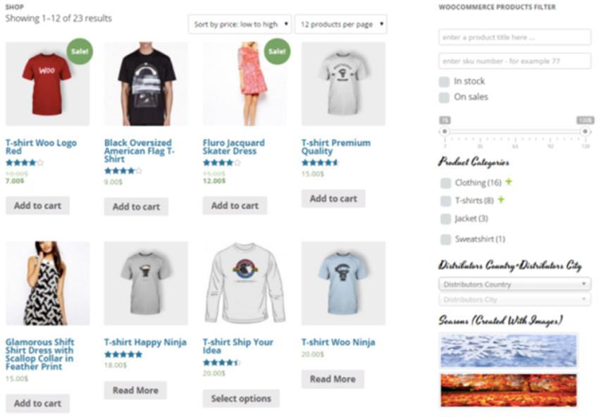 Página de tienda de WooCommerce que muestra filtros para seleccionar los productos mostrados