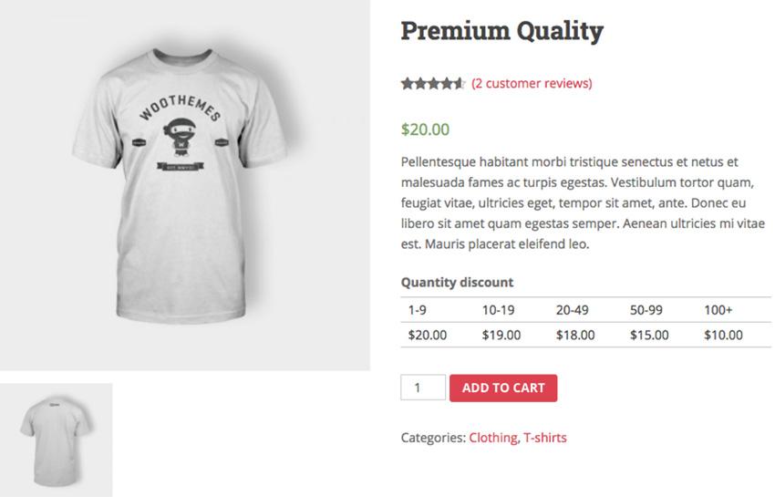 Página de producto de WooCommerce que vende una camiseta