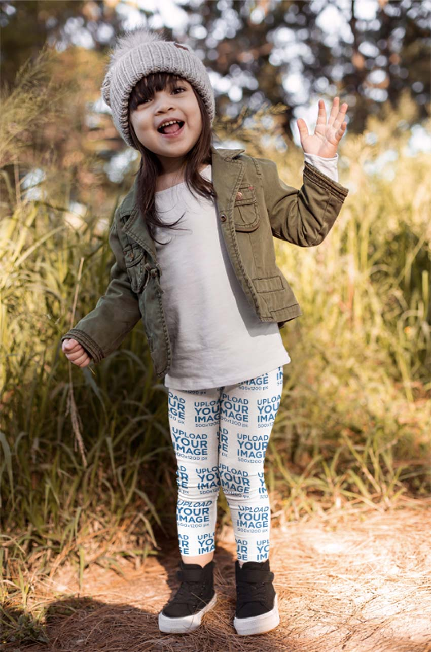 Leggings Mockup of a Little Girl in a Fall Outfit