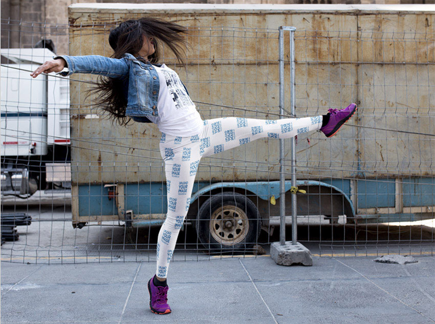 Woman Dancing on the Street While Wearing Leggings Mockup