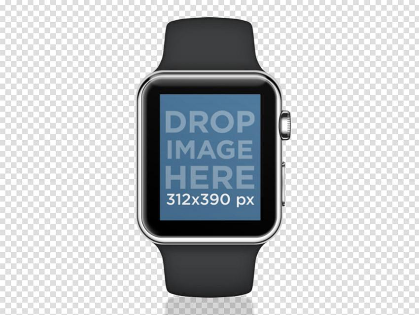 Black Apple Watch Sport Mockup PNG