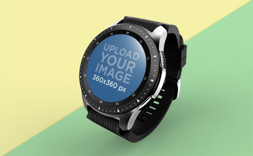 Mockup of a Smartwatch Floating Over A Solid Surface