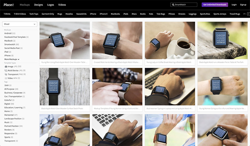 Navigate to Placeits Smartwatch Mockup Page