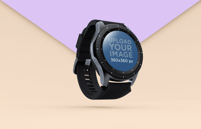Smartwatch Mockup Floating over a Background with Two Colours