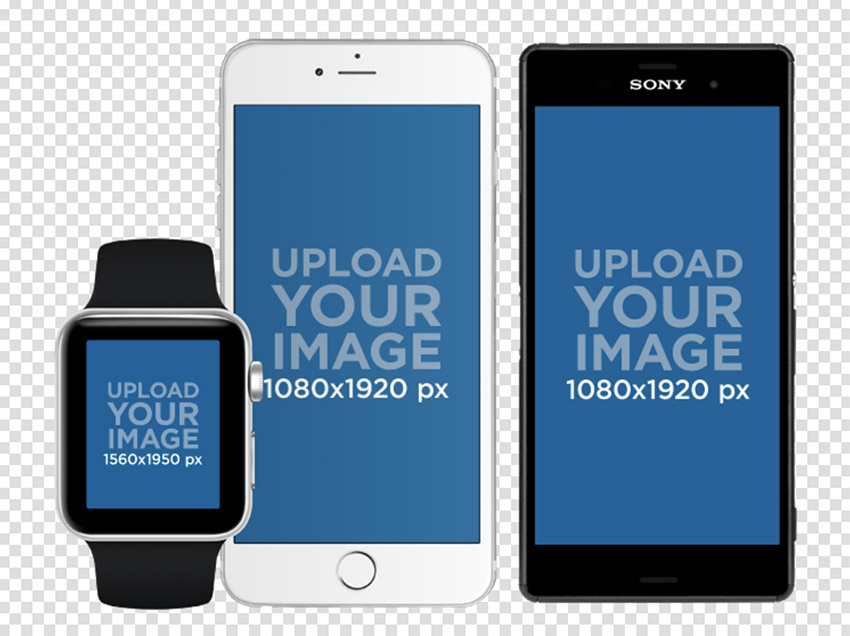 Smartwatch with iPhone 6 and Android Phone Set in Portrait Position Mockup