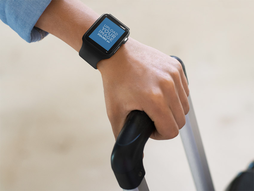 Wearing Black Apple Watch While Traveling Mockup Template