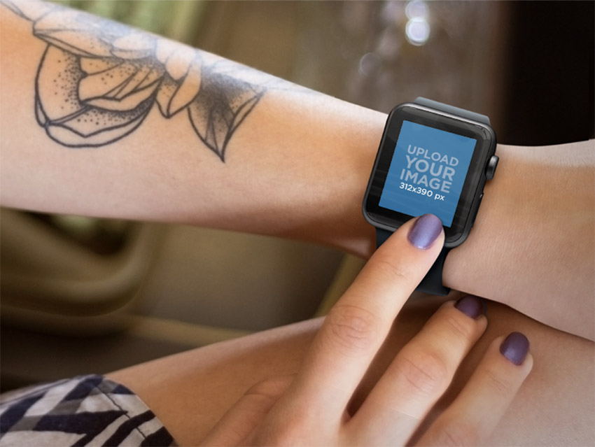 Young Tattooed Woman Using her Black Apple Watch with Vintage Backdrop