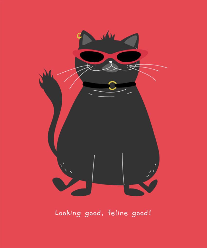 Illustrated Smiling Black Cat T-Shirt Design Generator
