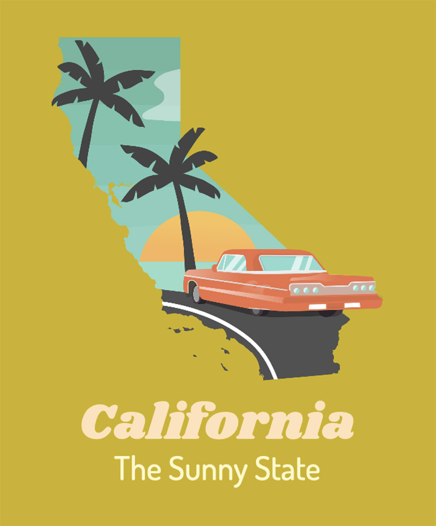 Illustrated T-Shirt Design Template of Sunny California