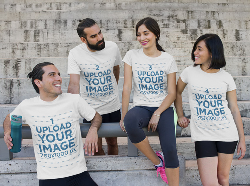 T-Shirt Mockup of a Group of Friends Relaxing Outdoors