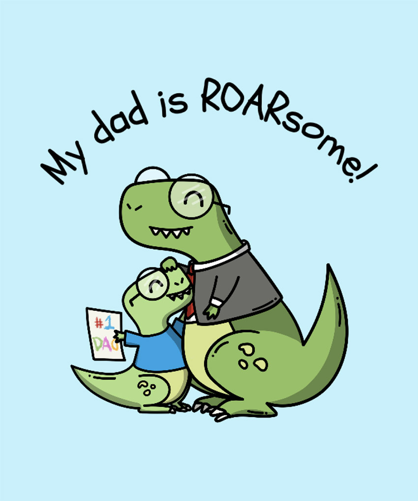 Fathers Day T-Shirt Design Template with Dinosaur Clipart