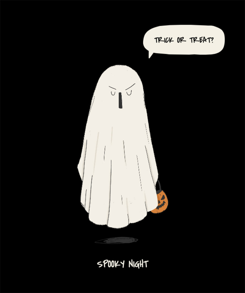 Funny T-Shirt Design Template Featuring a Blanket Ghost Trick-or-Treating