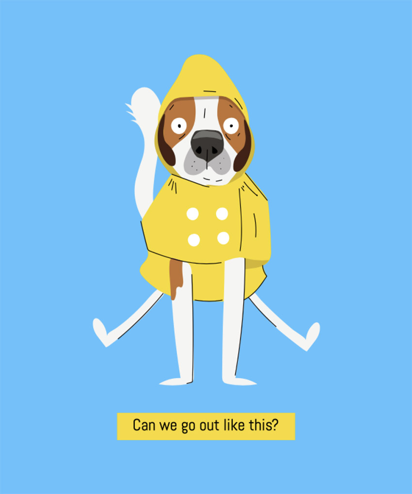 Illustrated T-Shirt Design Maker Featuring a Dog Wearing a Raincoat