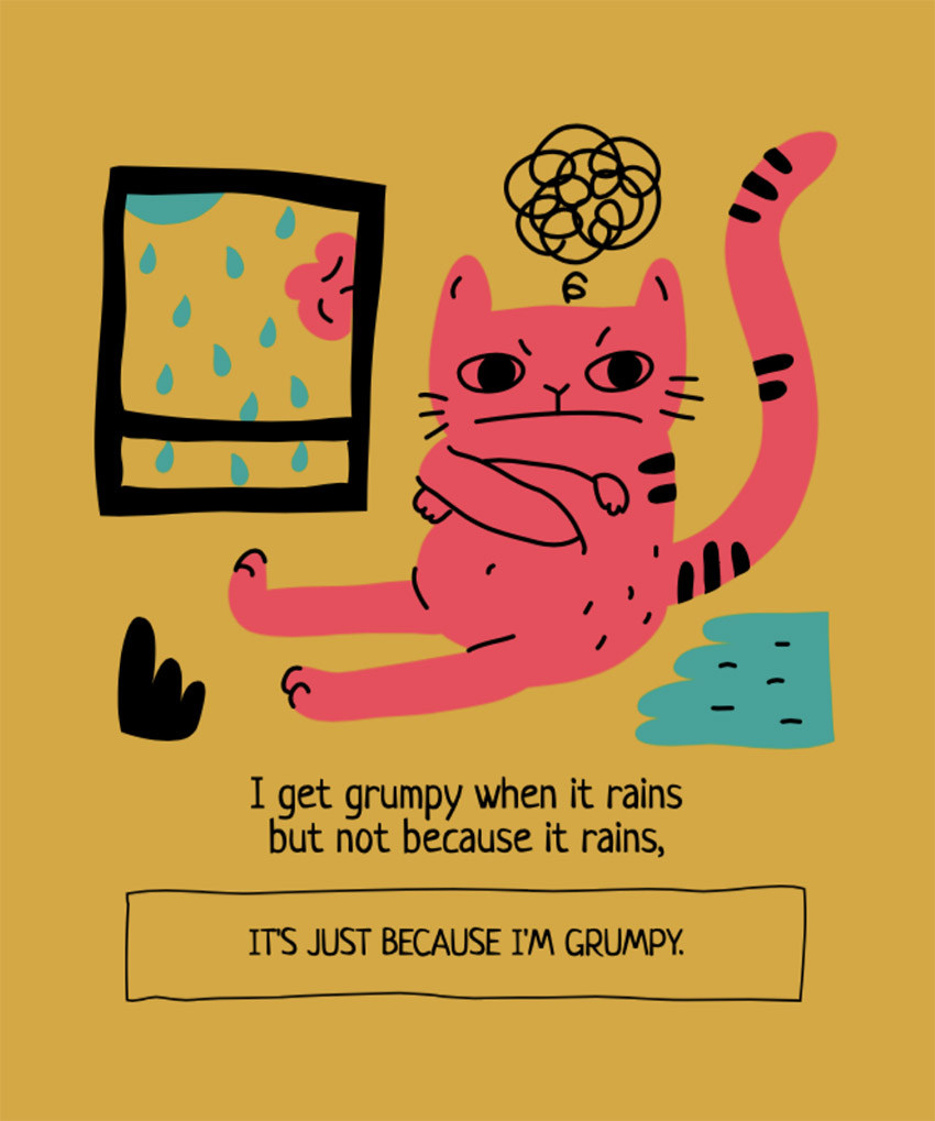Illustrated T-Shirt Design Maker Featuring a Grumpy Cat by a Rainy Window