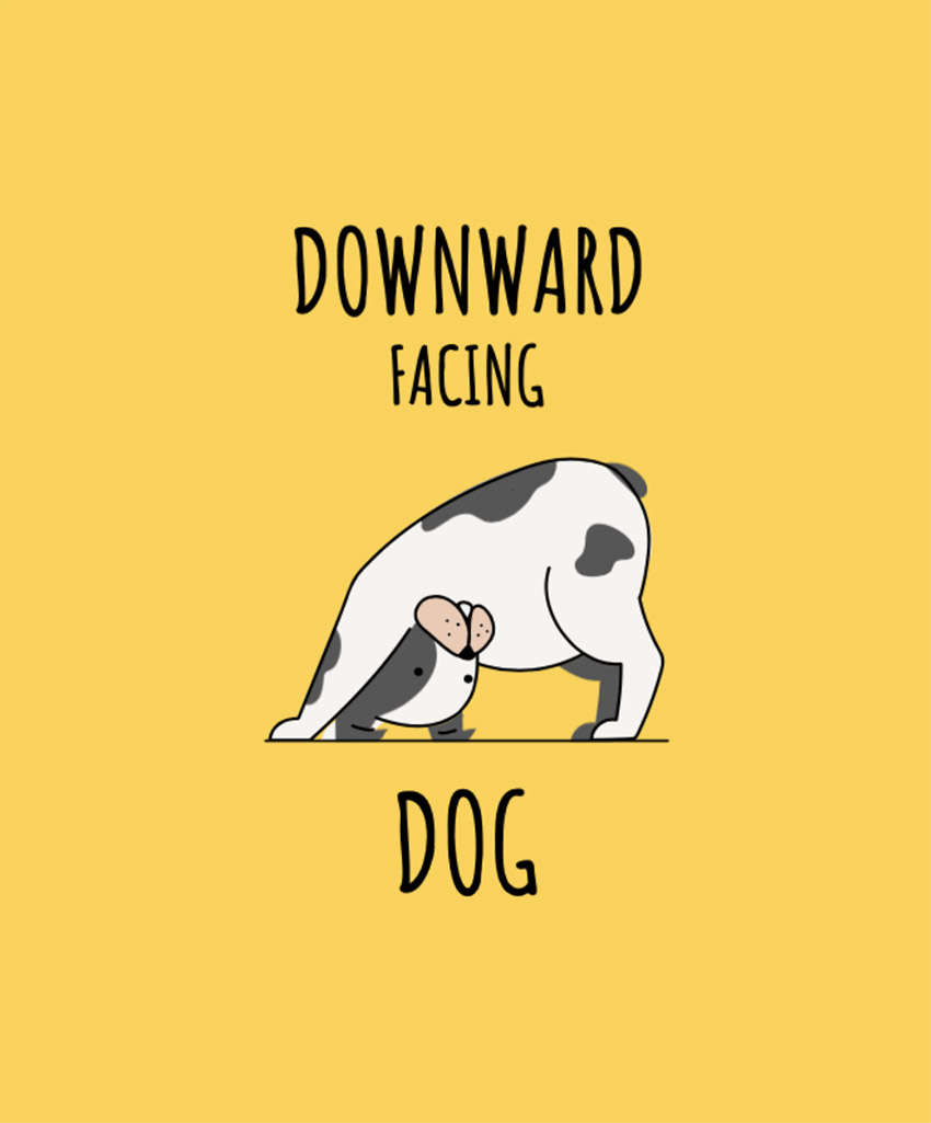 T-Shirt Design Template Featuring a Downward Facing Dog