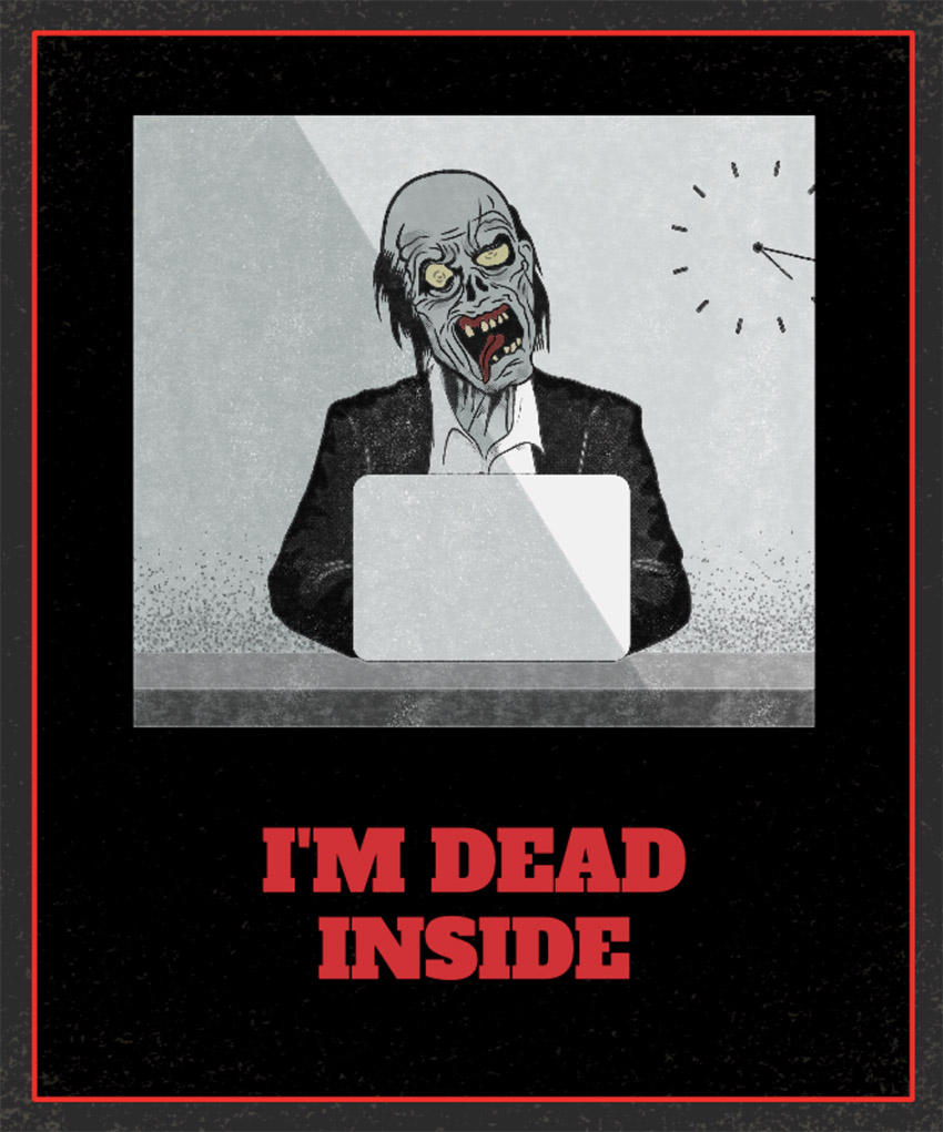 T-Shirt Design Template Featuring a Zombie Executive