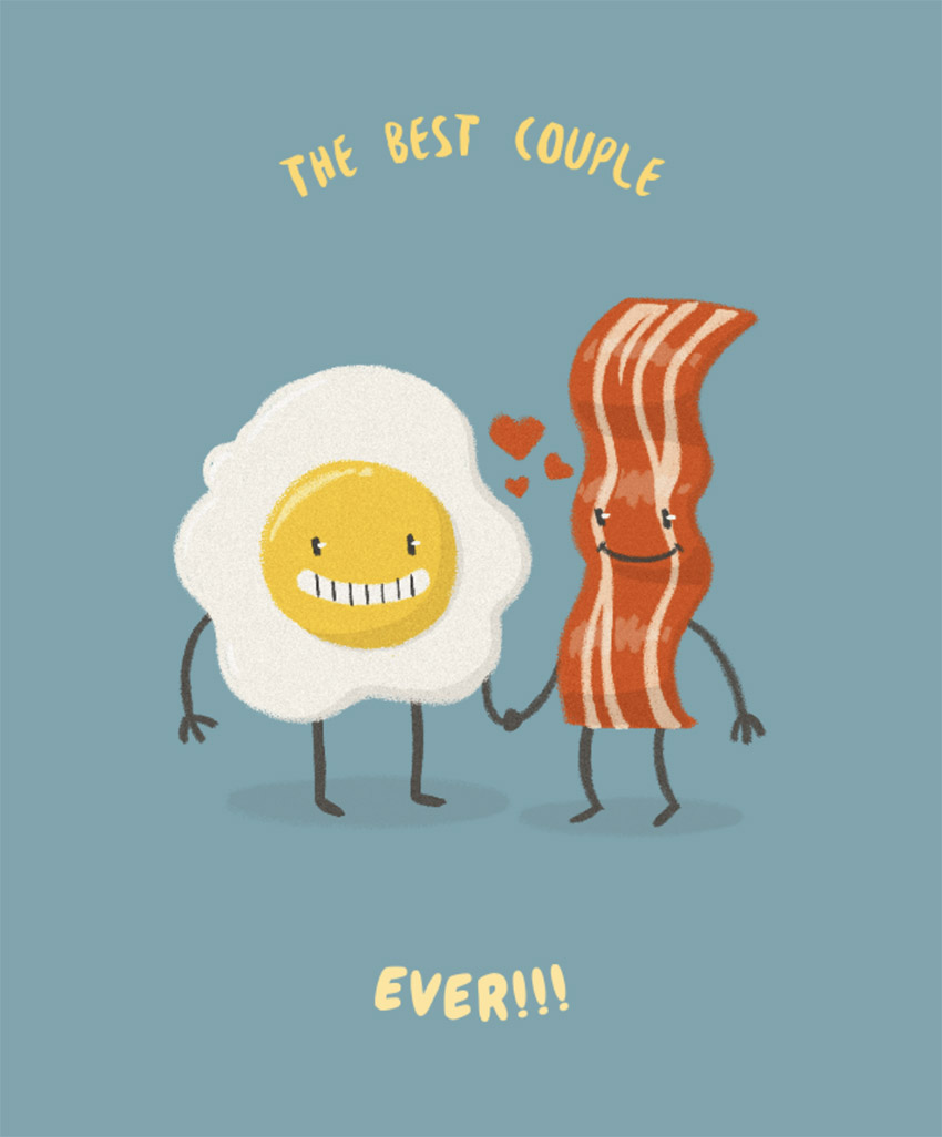 Valentines T-Shirt Design Generator with Bacon and Egg Graphic