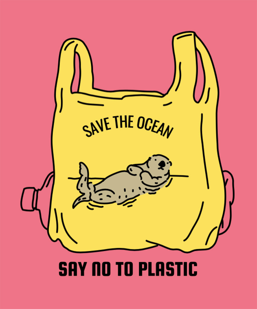 Ocean Rescue T-Shirt Design Maker Featuring an Otter in a Plastic Bag