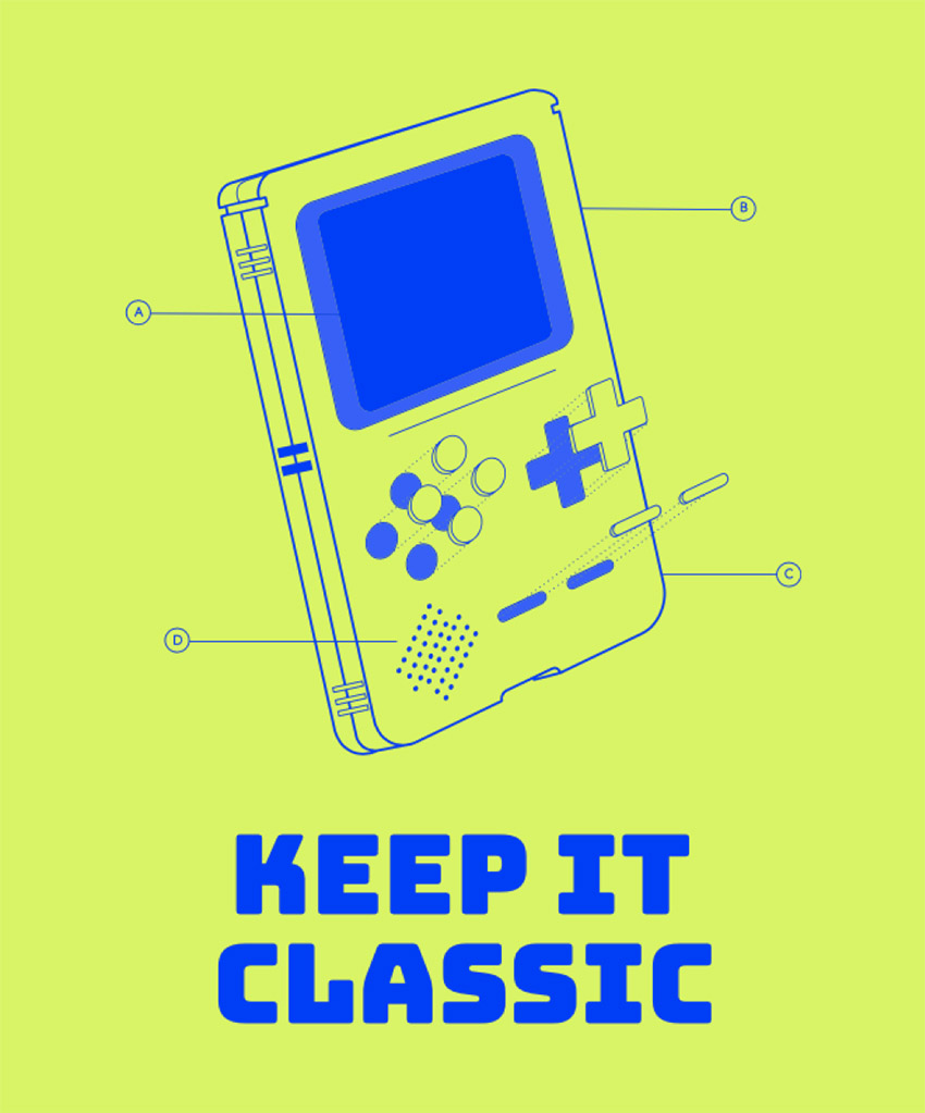 T-Shirt Design Template Featuring a Retro Gameboy Device
