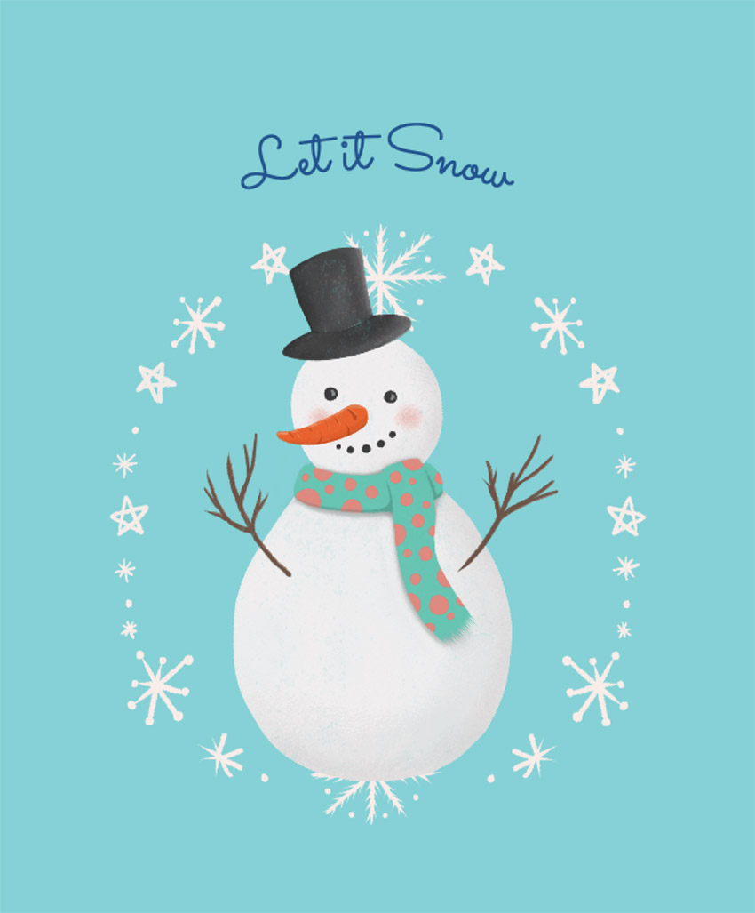 Christmas T-Shirt Design Template with Cute Frosty Snowman
