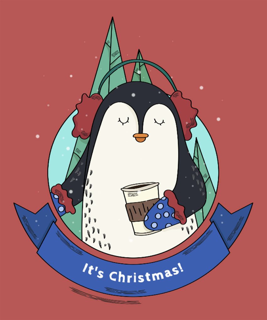Cute Xmas Tee Design Template with Penguin Graphics