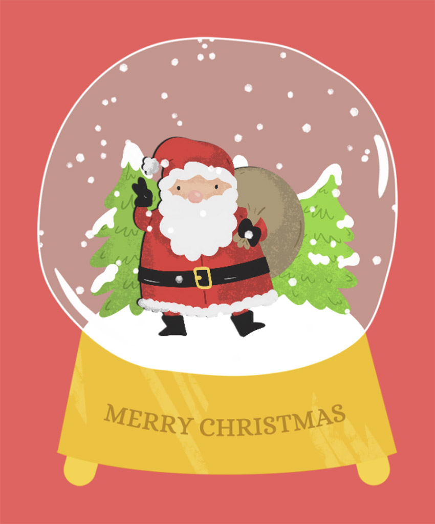 Holiday T-Shirt Design Maker with a Santa Illustration in a Crystal Ball