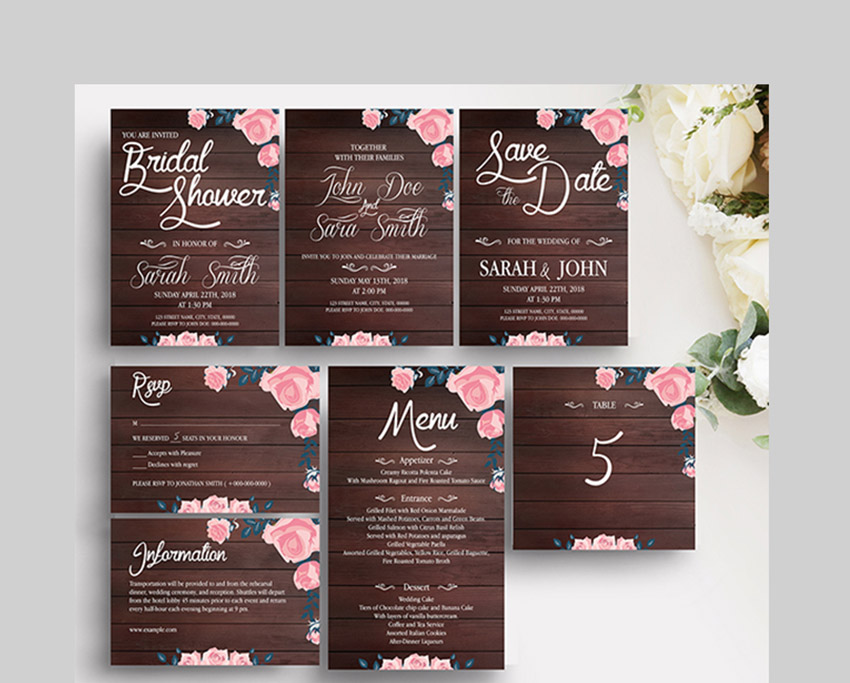 Rustic Wooden Wedding Template Suite