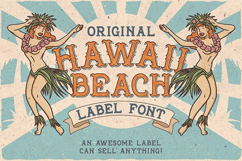 Hawaii Beach Font  T-shirts