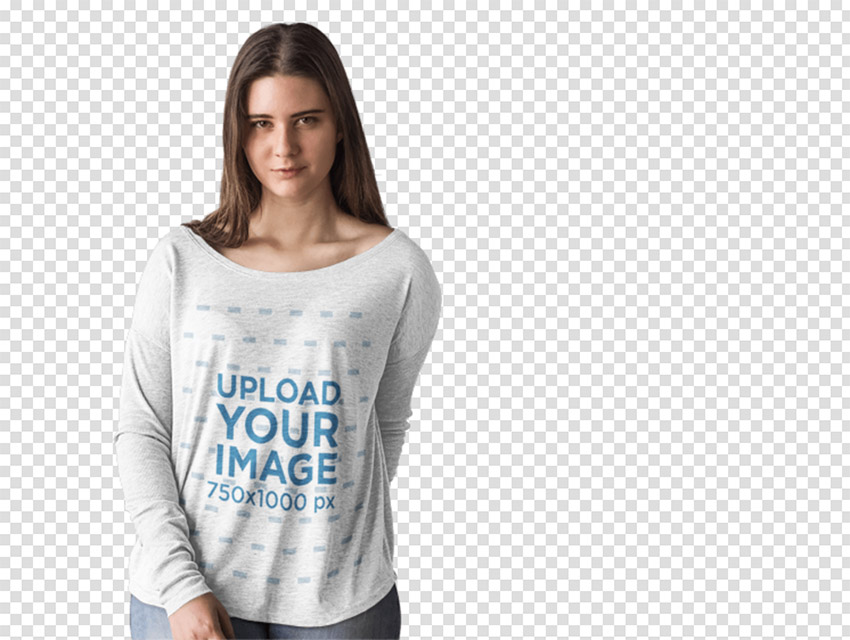 Long Sleeve T-Shirt Mockup of a Woman Modeling