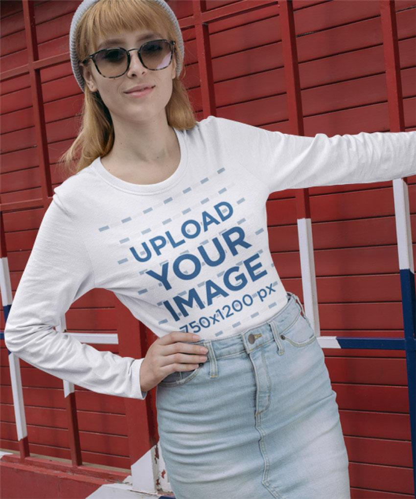 Long Sleeve T-Shirt Mockup of a Woman Wearing Sunglasses