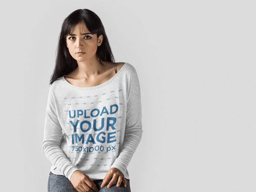 Loose Tee Mockup of a Female Model at a Studio with a Long Sleeve T-Shirt