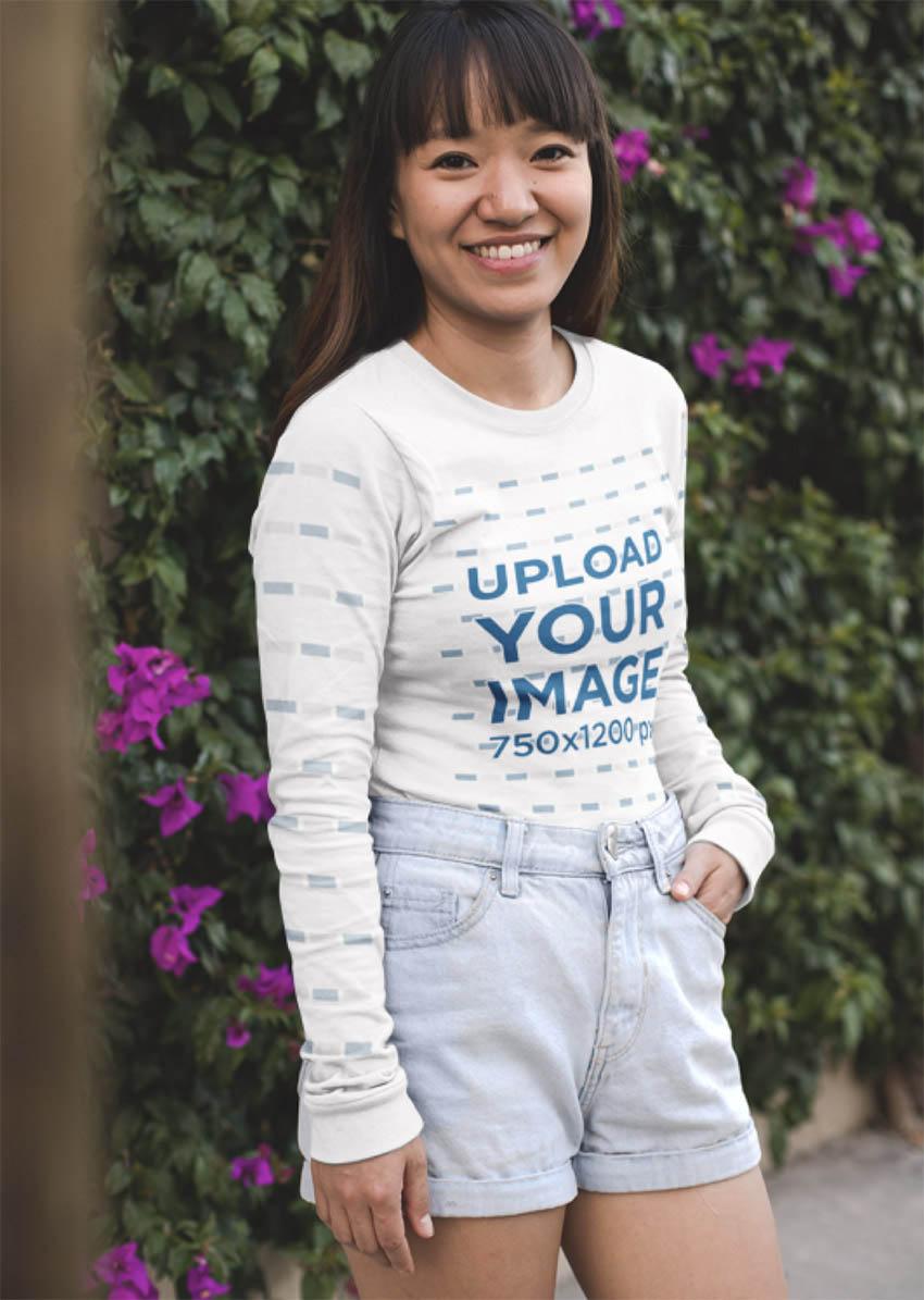 Mockup of a Smiling Woman Wearing a Long Sleeve Tshirt