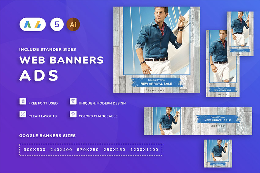 Seals Men Clothes Banner Template