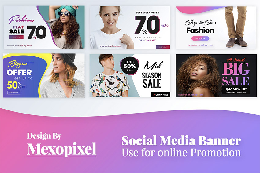 Social Media Banner for Promotional PSD Templates