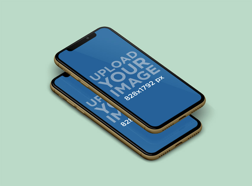 Mockup Featuring Two Overlapping iPhones 11 over a Solid Color Surface