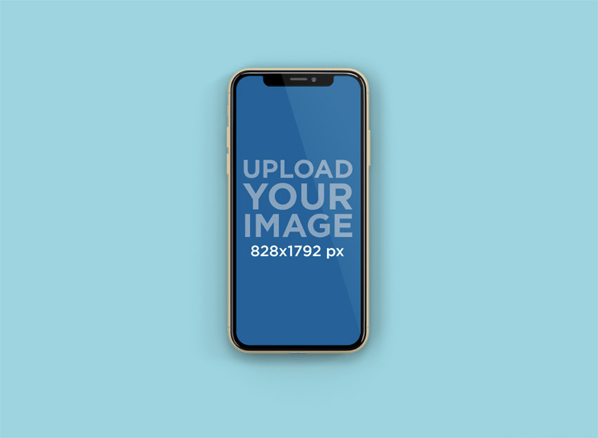 Mockup of an iPhone 11 Placed Centered in a Custom-Color Backdrop