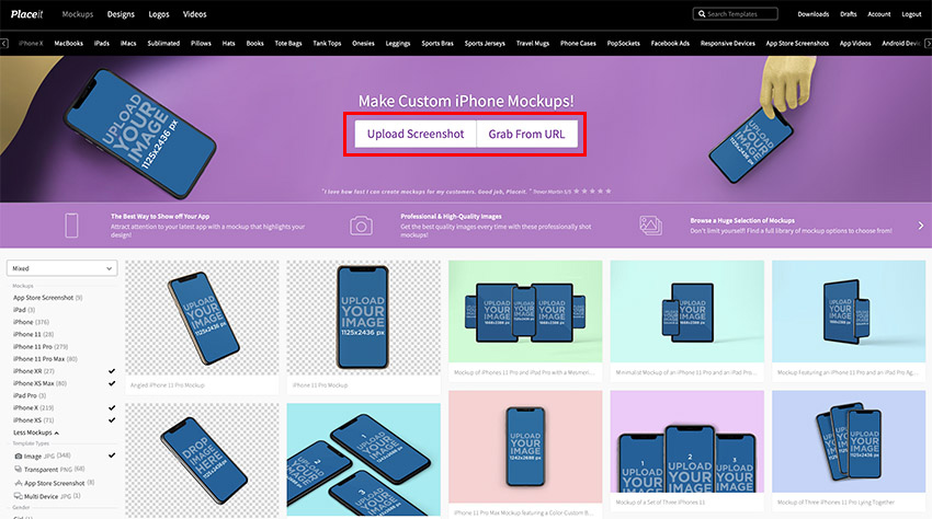 Navigate to Placeits iPhone Mockup page