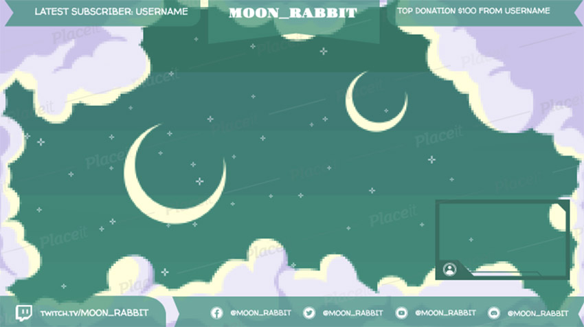 Twitch Overlay Maker with a Night Sky Pixel Art Background