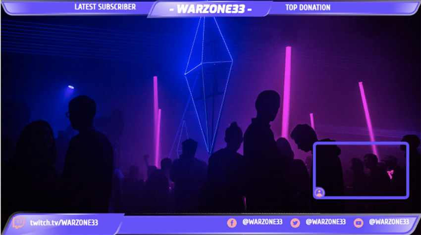 Twitch Overlay Maker with a Nightclub Setting Background