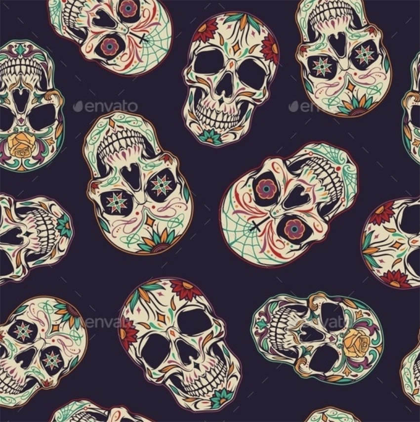 Day of the Dead Seamless Pattern
