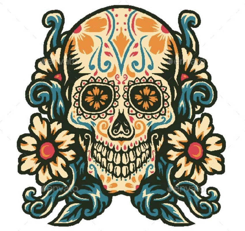 Sugar Skull with Flower Border