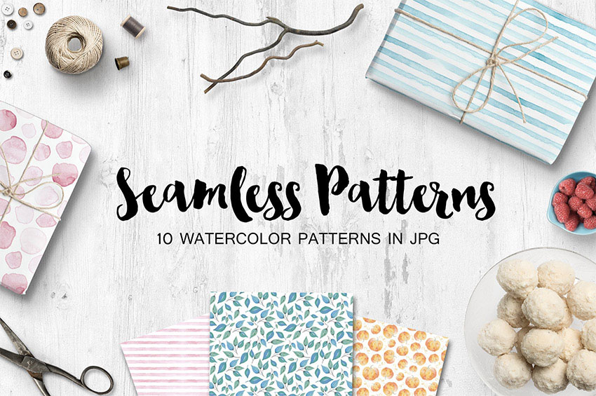 Watercolor Seamless Patterns Set