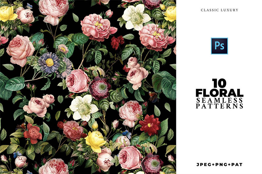 10 ELEGANT Seamless Flower Patterns