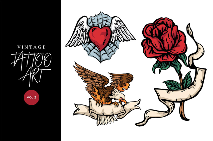 3 Vintage Hand Drawing Tattoo Vector