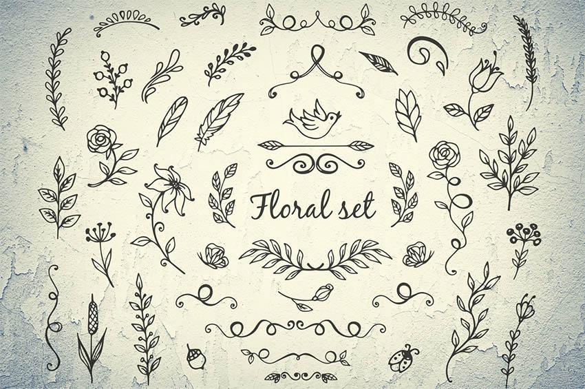 Doodle Floral Elements