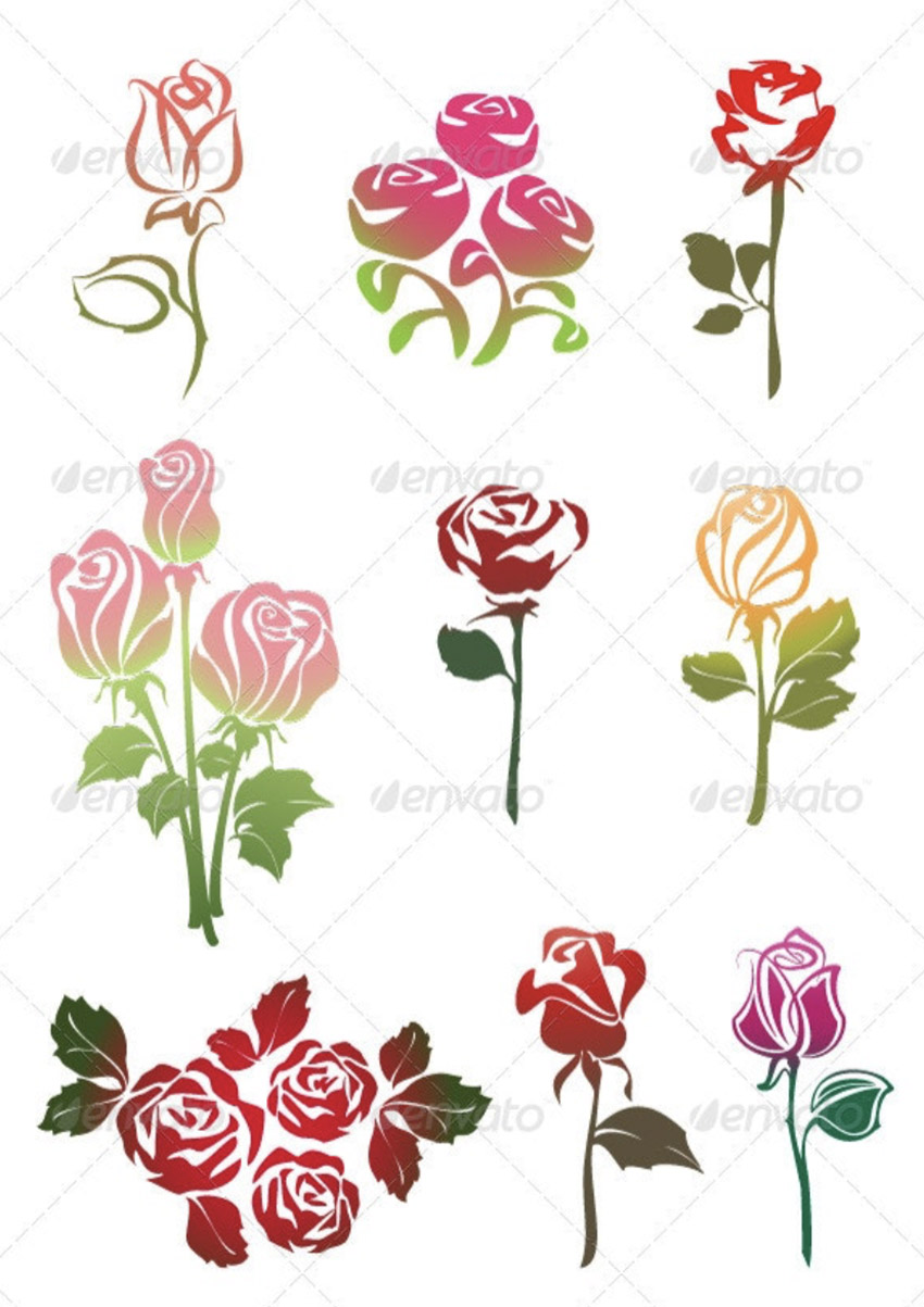 Icons Set of Colored Roses