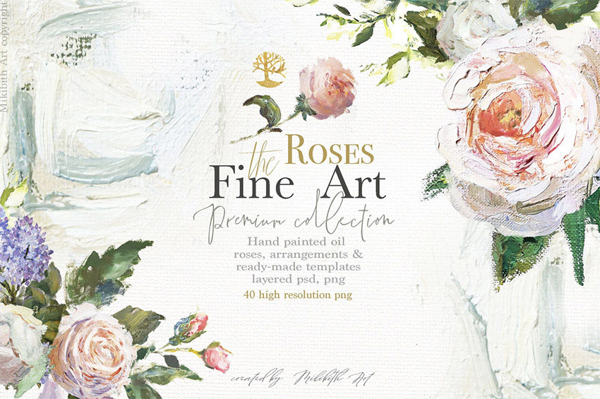 Oil painted Fine Art Roses Collection