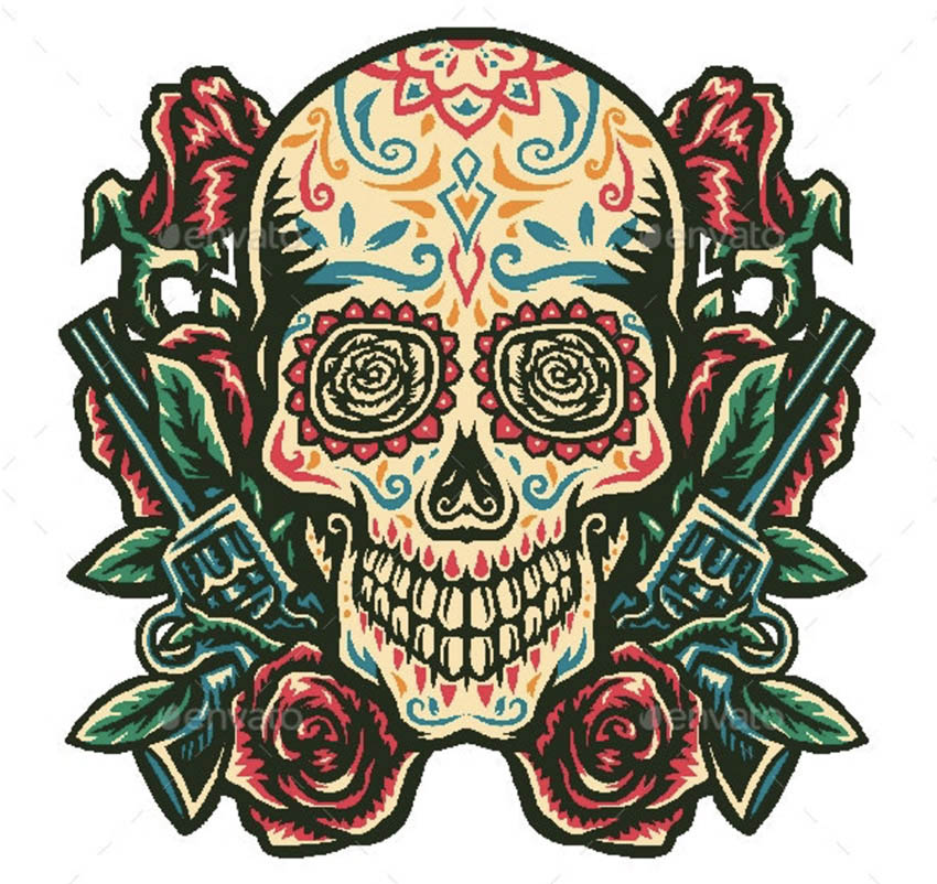 Sugar Skull With a Gun and Rose